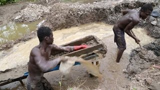 Large swathes of Ghana's gold belt have been laid to waste in the search for the precious metal by illegal small-scale miners.