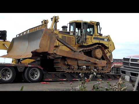 Cat D8R Unloading From Lowboy