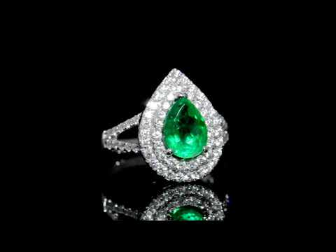 Lady's 18k White Gold 2ct Emerald and Diamond Ring