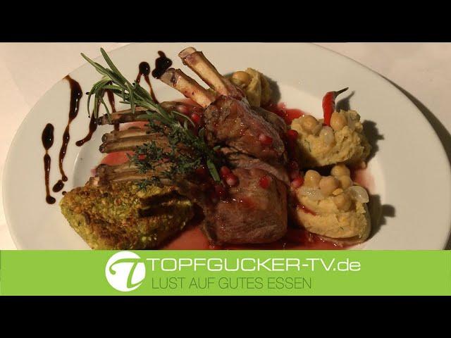 Lammkarree   Granatapfel-Chili Sauce   Schafskäse in Pistazienkruste   Kichererbsenpüree