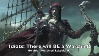 Original song: https://www.youtube.com/watch?v=XkU23m6yX04Karaoke: https://www.youtube.com/watch?v=0BYeOo0EA9ELyrics: Letomi and Rowan ( https://www.youtube.com/user/InfidelityMoonGuard )What if our Banshee Queen was behind our leaders' deaths...Sylvanas: Myself, SilverLetomiShenzi: LornaBanzai: Ceschiia, https://www.youtube.com/user/CeschiiaBackground Hyenas:ErisDreyfusKavo350LawrenciumProductions--------------If you liked what you saw and wanna stay on top of all the updates from Letomi, or just chat from time to time, feel free to add me on these mediums:http://www.twitter.com/Silverletohttp://www.facebook.com/DKLetomihttp://silverletomi.tumblr.comHave a parody idea? Song request? Unsent love letter? Friendly advice? Send it to letters2letomi@gmail.com !--------------I practically handed you the Headhunters' heads on a platterAnd you couldn't even dispose of themWell ya know… he wasn't exactly alone, Dark Lady.Yeah, what are we supposed to do?  Kill the Warchief?…PreciselyWe've all been ignored and been threatenedAnd so many have wished we just diedOur chance has arrived - pay attentionFor soon we will regain our prideIt's clear that we have an advantageThe factions are in disarrayThe Alliance King and Horde WarchiefNever could even predict this dayThe campaign that we plan won't be easyWe must strike while the iron is hotIt's time to move forward - To take over the HordeForsaken are on boardYour service I'll rewardMy plan is beginning - Their heads will be spinningWhen it's time for my people to riseWith a plague that leaves no living sparedBe prepared!Hah yeah, be prepared!  We'll be prepared!  For what?For the Death of the KingVarian's sick?No, fool!  We're going to kill him.. And Vol'Jin tooGreat idea!  Who needs a Warchief?No Chief, No Chief!  La la la la la la!Idiots!  There will be a Warchief!Hey, but you said that….*I* will be Warchief!Stick with me and you'll never be exiled again!Yay, all right!  Long live Sylvanas!Long live Sylvanas!They give us contem