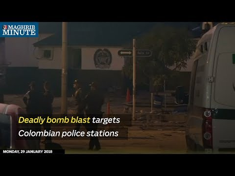 The aftermath of deadly double bomb blasts in Colombia, targeting police stations on Sunday