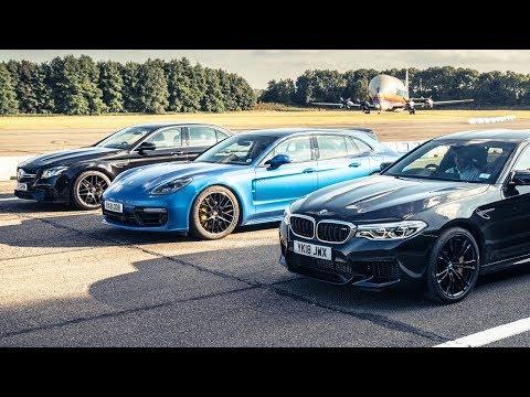 BMW M5 vs Mercedes-AMG E63 S vs Porsche Panamera Turbo S | Drag Races | Top Gear (видео)