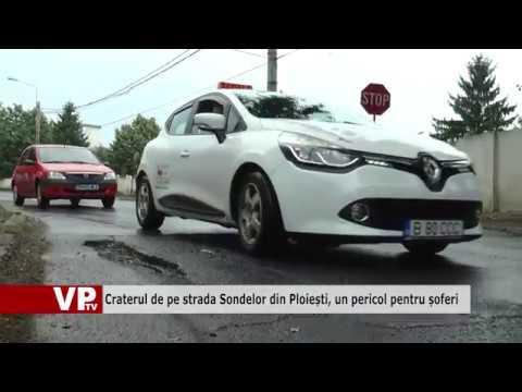 Craterul de pe strada Sondelor din Ploiești, un pericol pentru șoferi