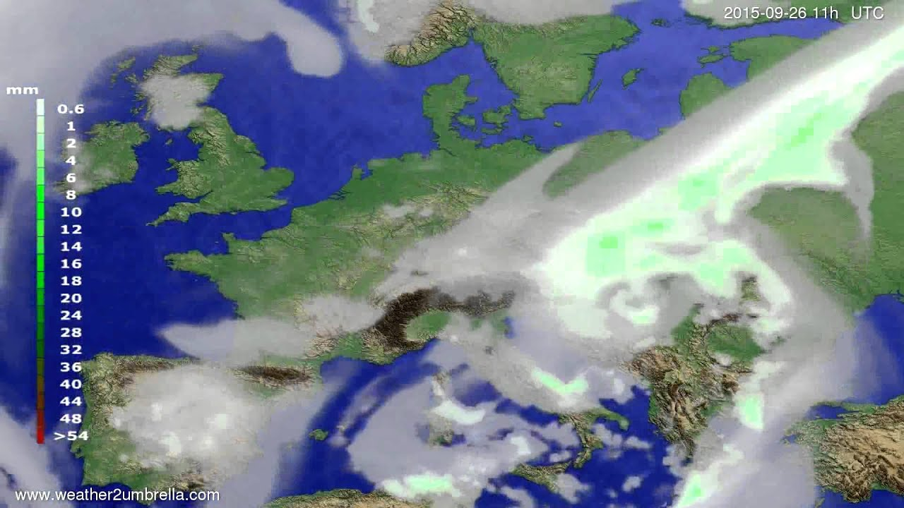 Precipitation forecast Europe 2015-09-23