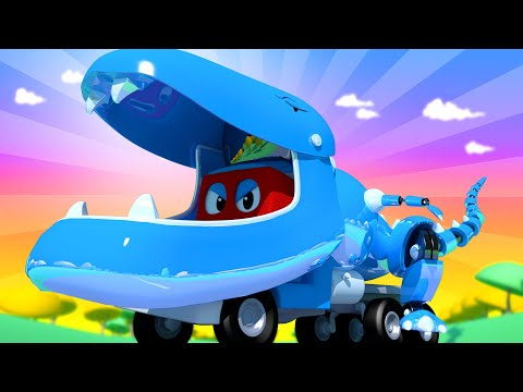 Jurassic WORLD - Robotic T-rex Truck - Carl the Super Truck - Car City ! Trucks Cartoon for kids