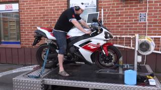 10. Stock 2008 Yamaha R1 on dyno