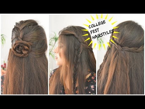 2 EASY HAIRSTYLES FOR COLLEGE FEST FEST HAIRSTYLES