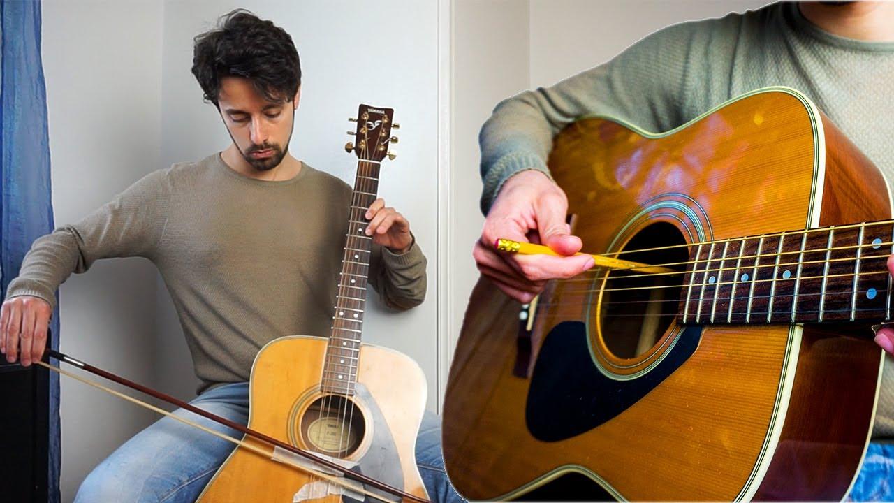 String ensemble imitation on acoustic guitar
