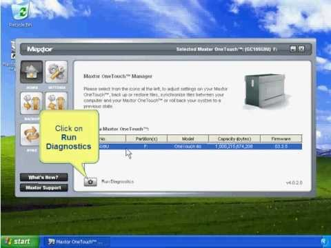 How to test Maxtor OneTouch 3 drives_WIndows XP / Vista