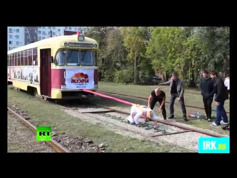 meet the russian, pull tram 19 tonnes (video)