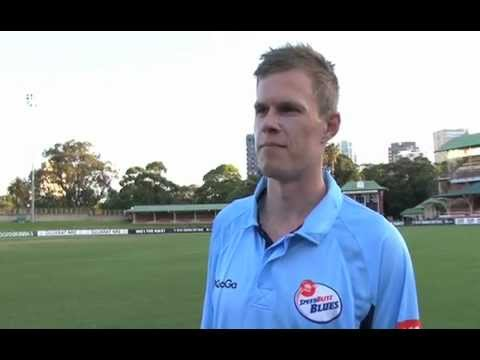 Scott Henry chats with Cricket NSW after NSW v VIC Ryobi One-Day Cup match at North Sydney Oval