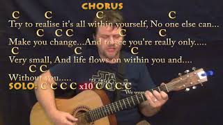 Within You Without You (Beatles) Fingerstyle Guitar Cover Lesson in C with Chords/Lyrics