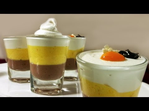 Triple Layered Mousse - Dark Chocolate, Mango, White Chocolate | Quick, Easy | Eggless