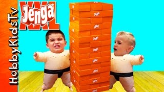 XXL JENGA Game Full of Surprises! We Wear Sumo Suits While Playing