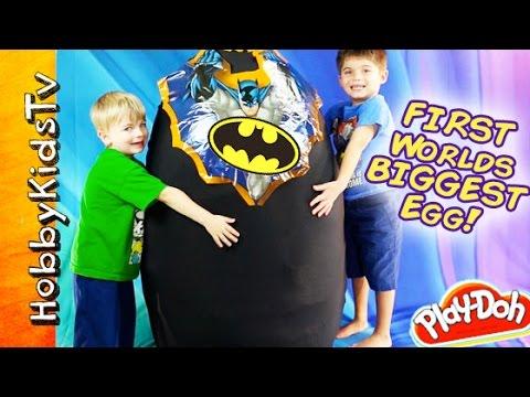toys - Mega Surprise toys hiding inside BIGGEST Egg Ever! HobbyKids the original creators of the GIANT eggs and GIANT Play-Doh Eggs. Subscribe to HobbyKidsTV: http:...