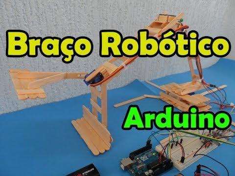 Braço robótico com arduino, servomotores e palito de picolé