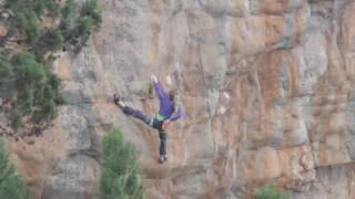 Mina Leslie Wujastyk redpoint attempt of Punks in the Gym, 8b+ by Five Ten