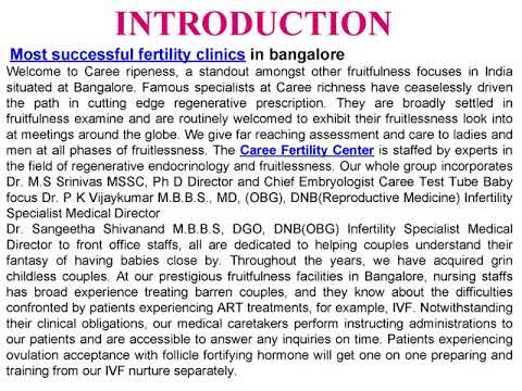 Most successful fertility clinics in bangalore