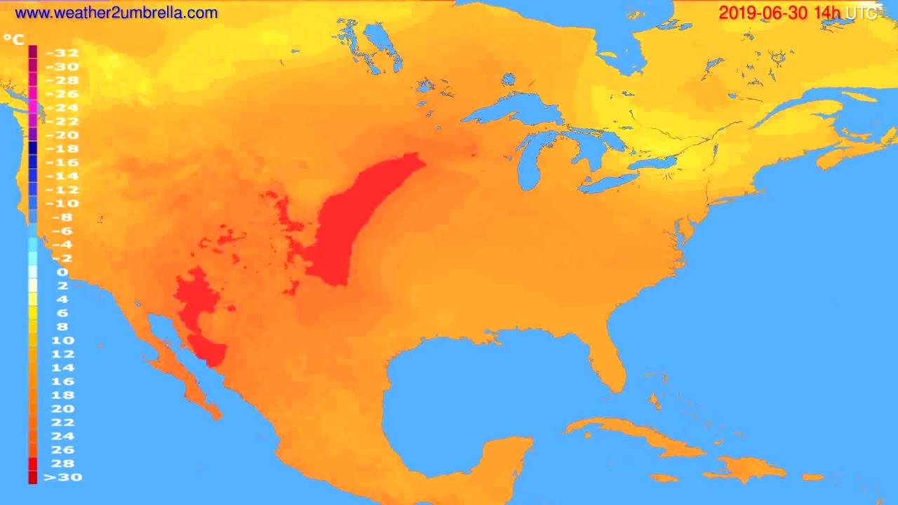 Temperature forecast USA & Canada // modelrun: 12h UTC 2019-06-28