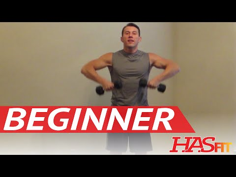 15 Minute Beginner Weight Training – Easy Exercises – HASfit Beginners Workout Routine – Strength
