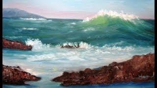"""February 20, 2013 Oil Painting - """"Big Wave Coming"""" Full Version for Class"""