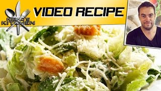 The best Caesar salad recipe, a great, simple and quick Caesar salad recipe to try. Caesar Salad is type of salad which everyone likes to have on their table. It's very much nutritional diet for you and your kids. It gives a fresh taste of lettuce, meat and olive oil, dressed with cheese, lemon juice, eggs, red wine vinegar and black pepper. The dressing is the best part of this salad. You will keep your fingers licking after eating it. You can change some of its ingredients but to have a tasteful salad it's recommended that you should try the original recipe. Here is how you make it.