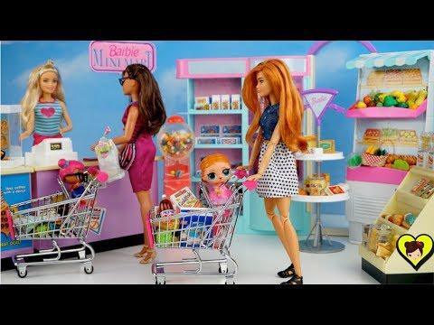 Bebés LOL Surprise y Mama Barbie Van a comprar al Supermercado