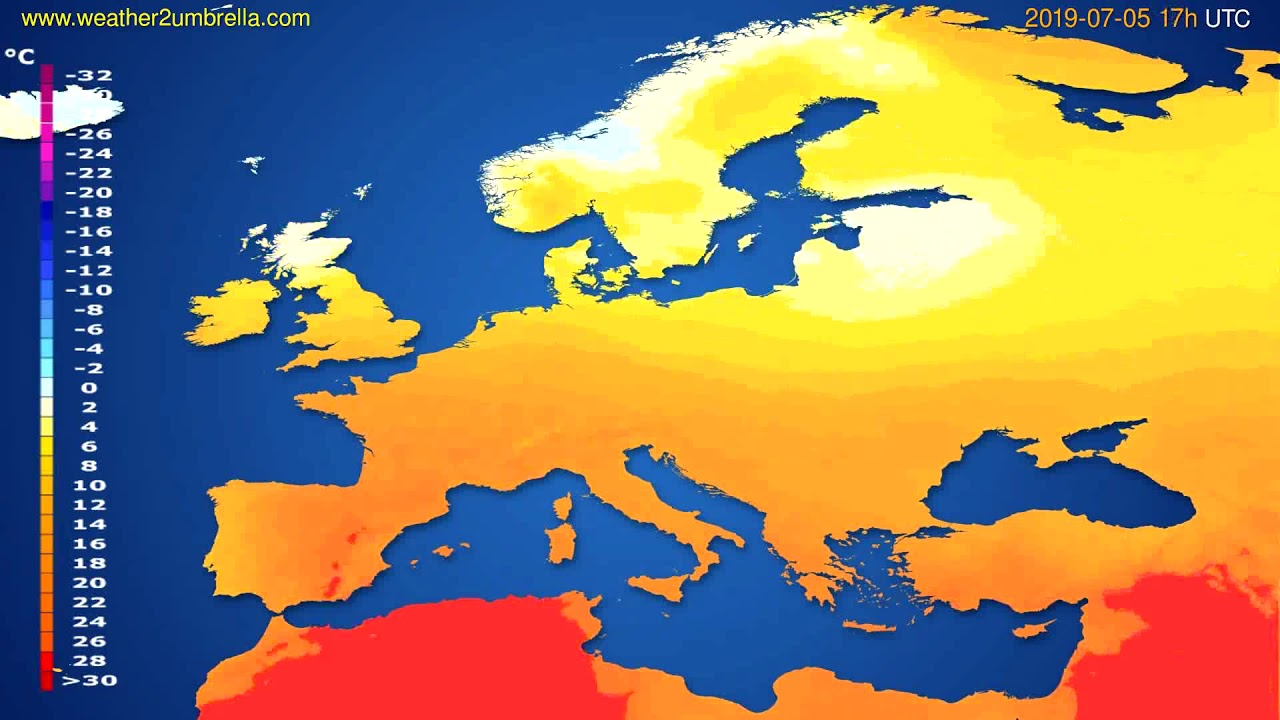 Temperature forecast Europe // modelrun: 12h UTC 2019-07-03