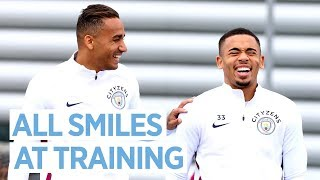 ALL SMILES AT TRAINING | Manchester City v Swansea City Preparations