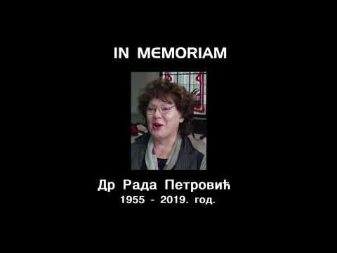 IN MEMORIAM- ДР РАДА ПЕТРОВИЋ
