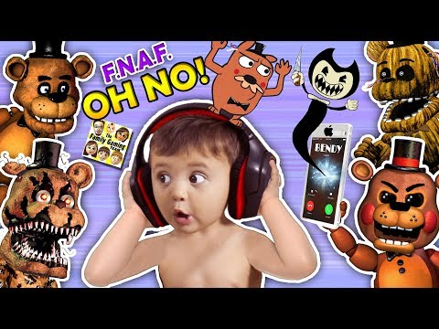 OH NO! BABY Shawn Vs. FIVE NIGHTS At FREDDY'S 1,2, & 4 + He Calls BENDY & The INK MACHINE (FGTEEV)