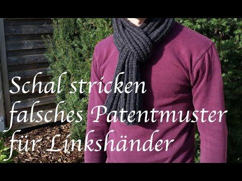 Schal stricken falsches Patentmuster für Linkshänder