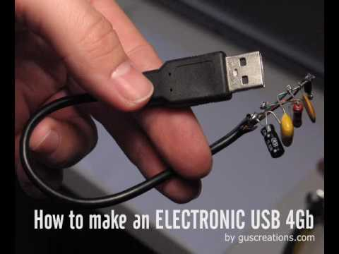 Electronics - How to make an Electronic USB 4Gb. With an USB pen drive 4Gb + USB Connector + Electronics Components.