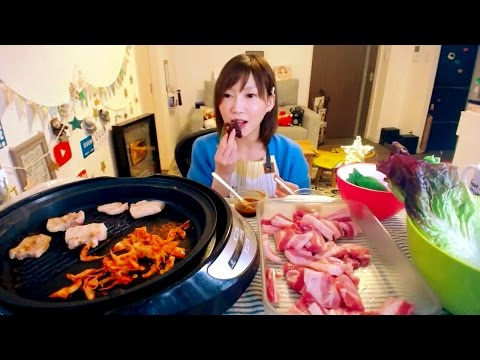"【MUKBANG】 Kinoshita Yuka's Social Eating LIVE [Korean Grilled Meat ""Samgyeopsal""...etc][NO CAPTION]"
