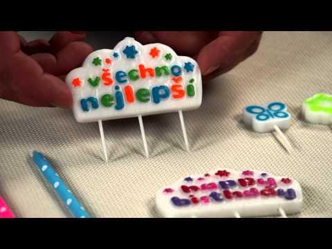 Видео Аксессуары для выпечки  Свечи для торта с подставками DELICIA KIDS 12 см, 16 шт. Tescoma 630990