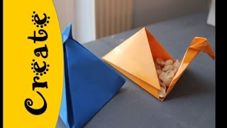 In need of a small box with flair - how 'bout a pyramid shaped Origami Box?