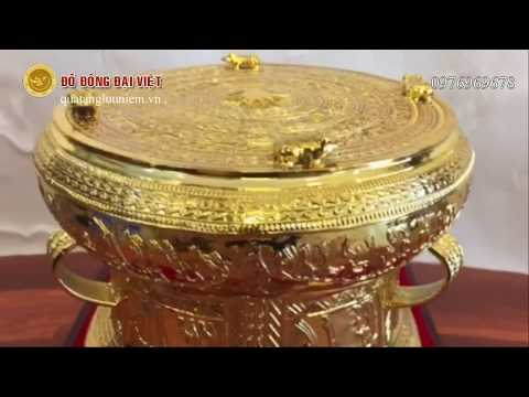 Trống đồng quà tặng - Trống đồng lưu niệm - Cửa hàng bán trống đồng mạ vàng đẹp