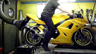 8. Triumph Daytona 650 on motrac racing dyno.part 1.