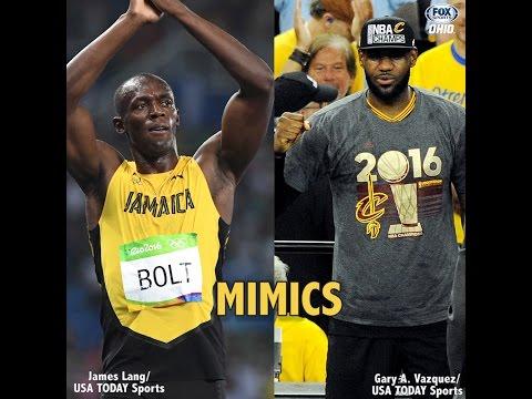 Usain Bolt mimicks LeBron James' 'The Silencer'