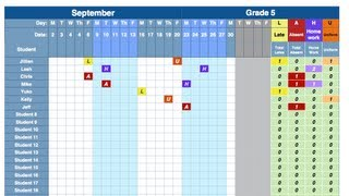I made and attendance spreadsheet that will automatically tally lates, absences, and incomplete homework. http://www.teacherspayteachers.com/Product/Attendance-Spreadsheet-2013-2014-838658