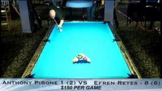 Pt 2 / Efren Reyes VS Tony Pirone / One-Pocket Challenge / October 2012
