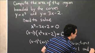 Area Between Y=x^3 And Y=3x-2 | MIT 18.01SC Single Variable Calculus, Fall 2010