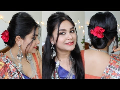 Hairstyles for short hair - Indian FESTIVE Hairstyle For Short Hair - Durga Puja HAIRSTYLE  EASY Teenager Navratri Hairstyle