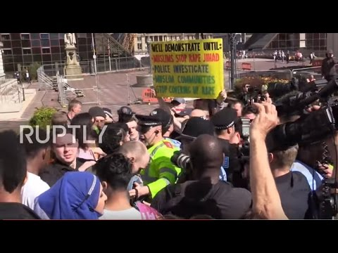 UK: EDL scuffle with counter protesters during Birmingham rally