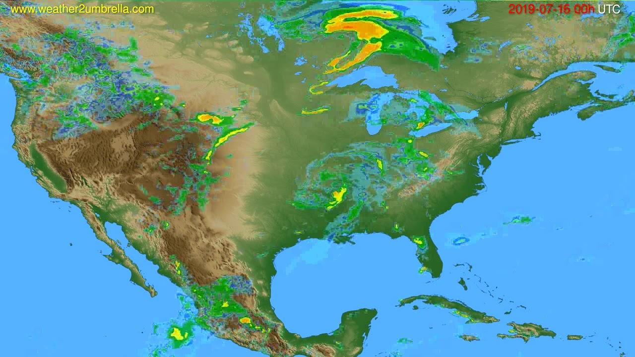 Radar forecast USA & Canada // modelrun: 12h UTC 2019-07-15