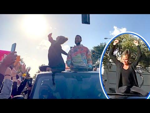 John Legend And Chrissy Teigen Celebrate As Hundreds Cheer On President Trump's Defeat