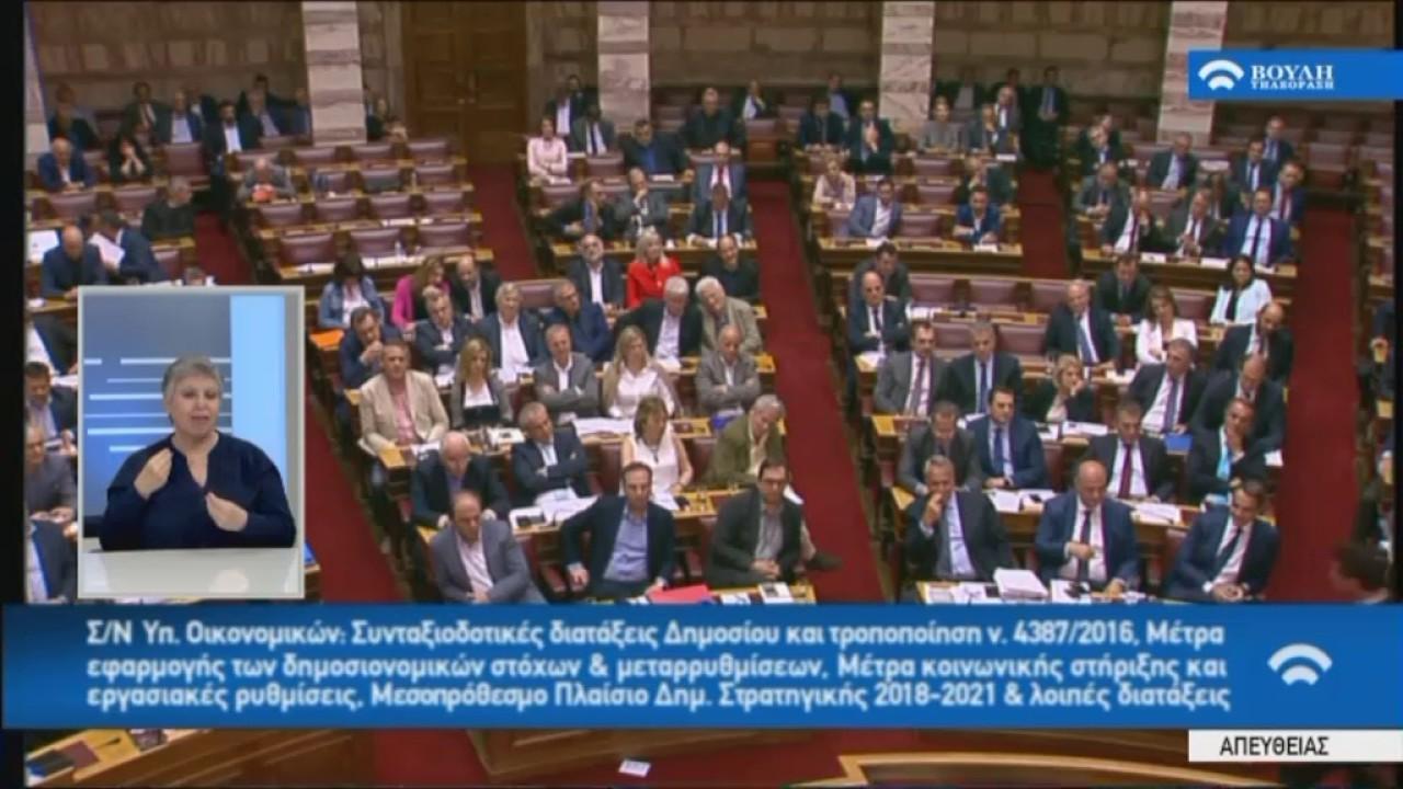 Ομιλία στη Βουλή στο πλαίσιο της συζήτησης για το Μεσοπρόθεσμο Πλαίσιο 2018-21