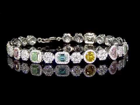 Lady's 18k White Gold 5.85ct (TDW) Natural Multi Color Diamond Bracelet