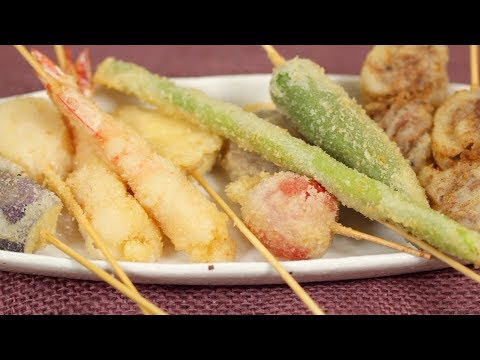 Kushikatsu Recipe (Deep-Fried Skewered Meat And Vegetables With Special Sauce) | Cooking With Dog
